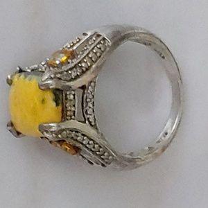 NWT Bumble bee jasper 6.40ct ring Platinum overlay